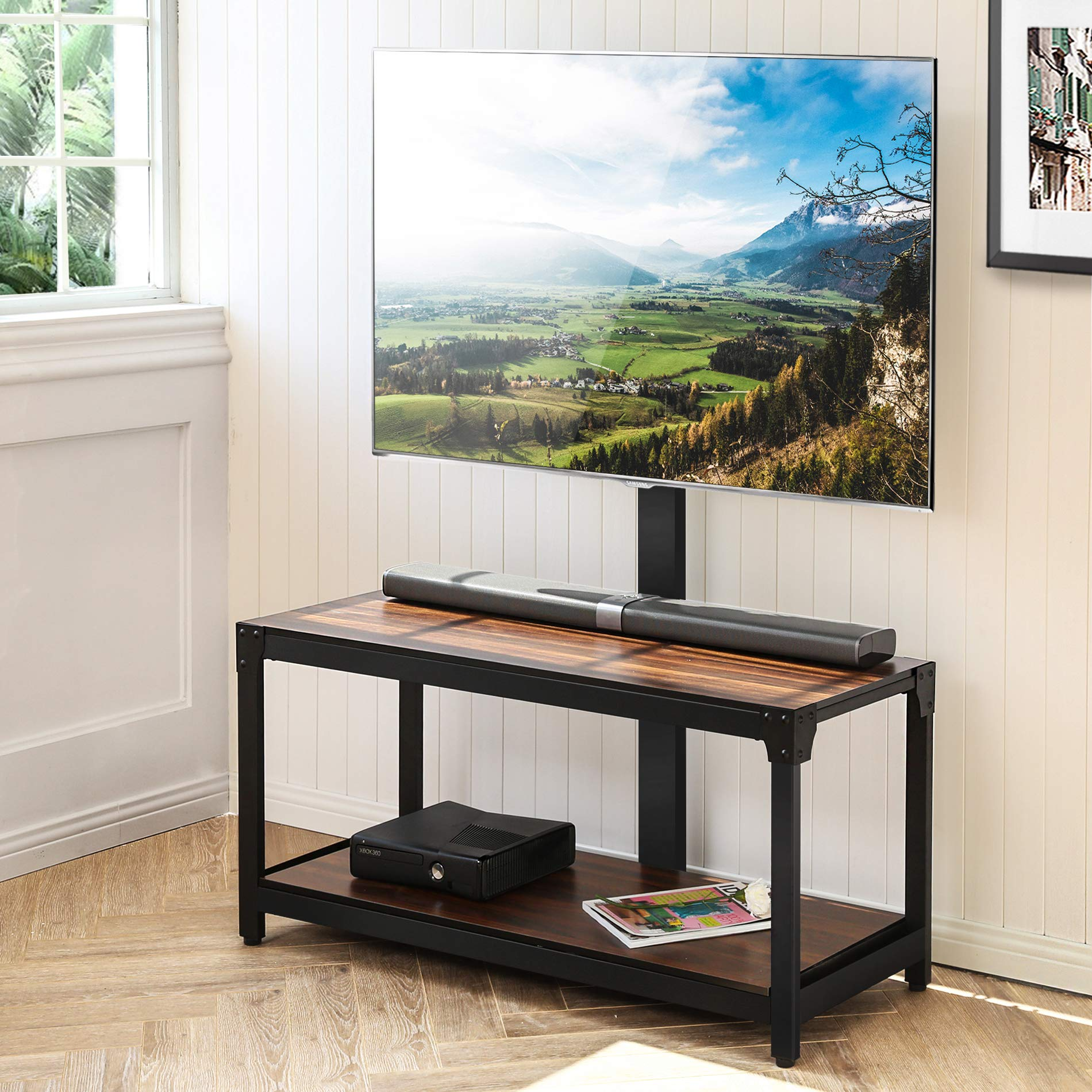 FITUEYES Floor TV Stand with Mount Wood TV Stand Base for 32 to 65 inches Flat Panel or Curved Screen TVs Shelves for Media Player TW208001MB by FITUEYES