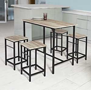 Haotian 5 Piece Dining Set,Dining Table with 4Stools,Home Kitchen Breakfast Table,Bar Table Set, Bar Table with 4 Bar Stools,Kitchen Counter with Bar Chairs (Natural)