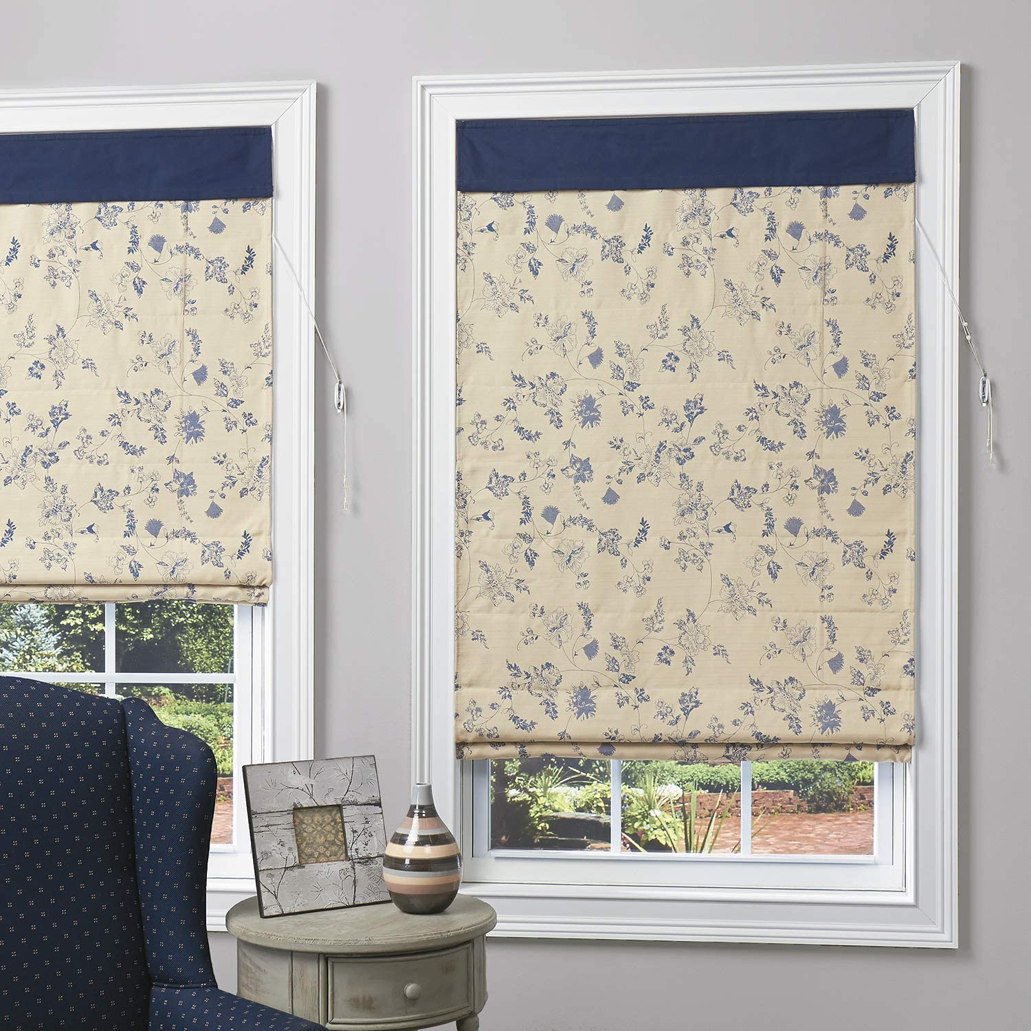 Roman Shade with Cord Wrap Eastern Blue 27 in. W x 64 in. L