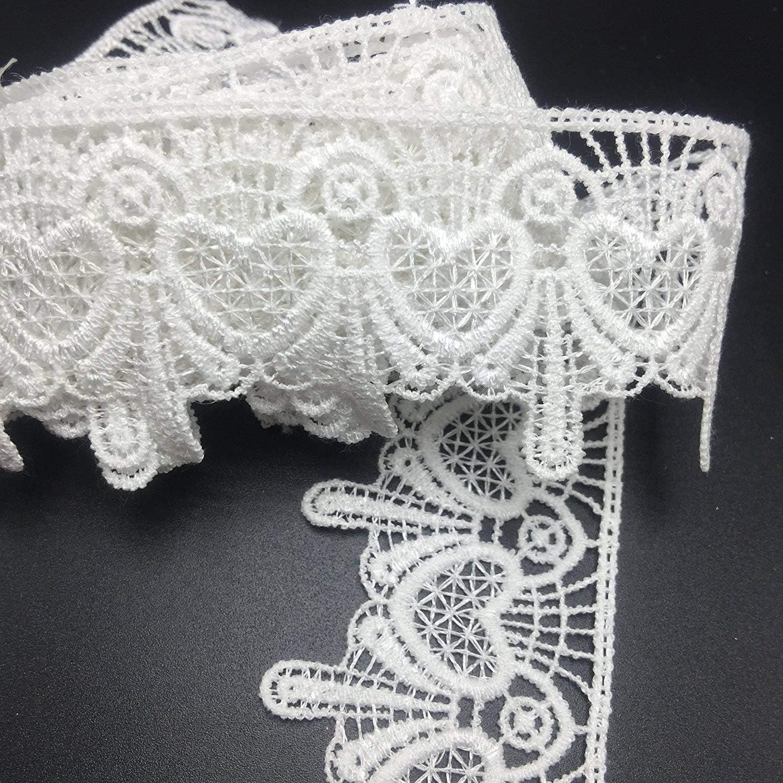 Heart Pattern Sewing Emboroidery Applique Ella Mama Crocheted Lace Trim DIY Craft Ribbon 1-3//4x 4.5 Yards Black