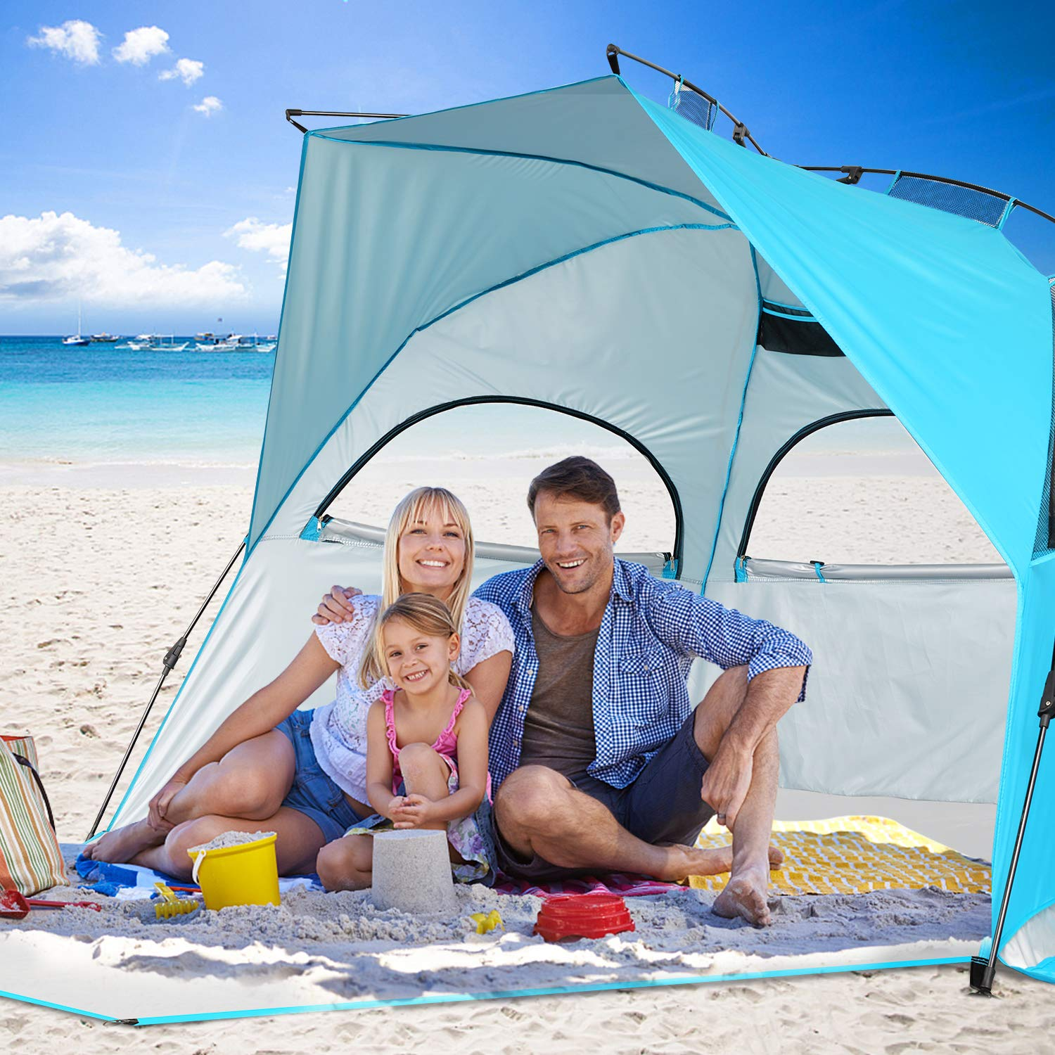 BATTOP 4 Person Instant Beach Tent Sun Shelter for Family – Easy Set Up Sun Shade Outdoor