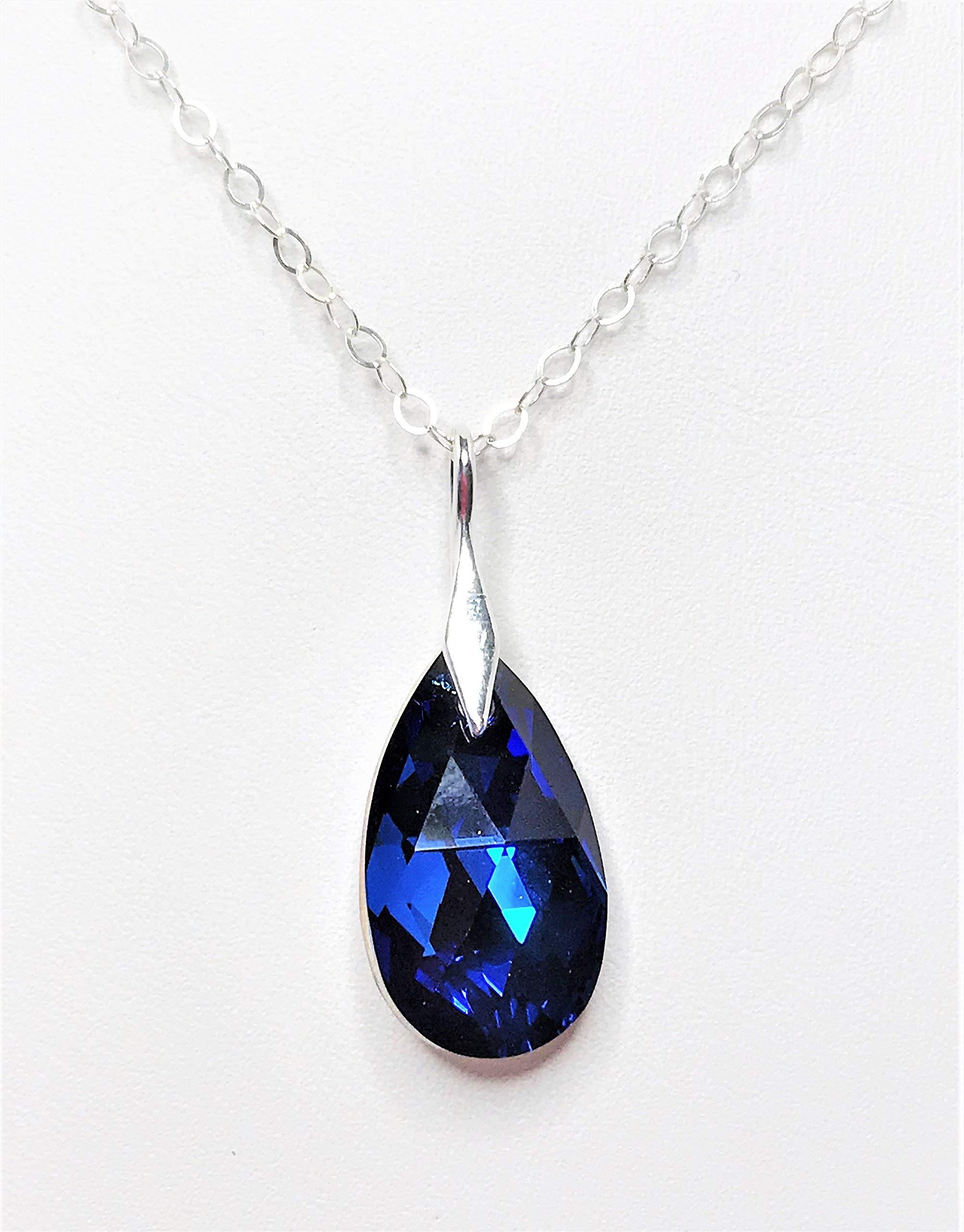 Handmade Capri Blue Swarovski Crystal Teardrop Sterling Silver 18 inch Necklace