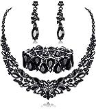 Fiasaso Wedding Crystal Jewelry Set for Women Bridal Rhinestone Necklace Earrings Bracelet Wedding Bridesmaid Jewelry