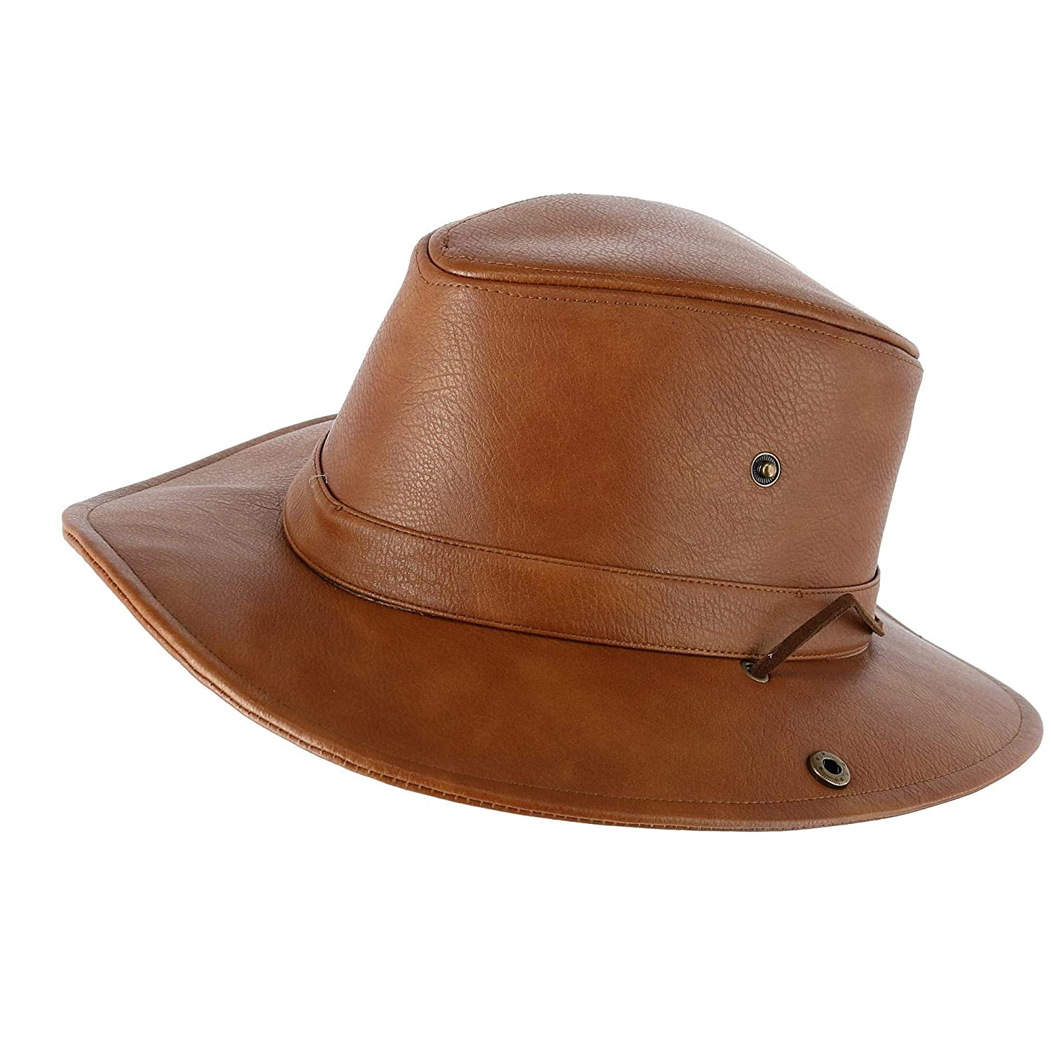Epoch Hats Company Men's Faux Leather Safari Fedora with Chin Cord Light Brown