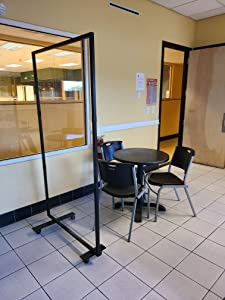"""Portable Partition Dividers 75""""H x 38""""W - Clear Screens Sanitation Walls/Great for Offices, Salons, Clinics, Nail Salons, and Restaurants (Black)"""