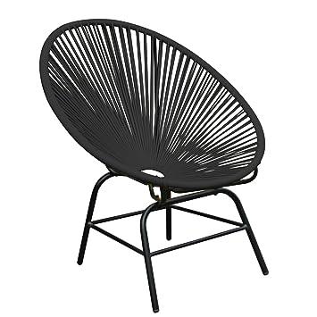 Original Retro ACAPULCO Chair Anthrazit Schwarz Mexico Stuhl Aus Metall  Polyrattan Outdoorstuhl Für Innen Und Außen