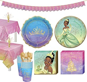 Party City Disney Princess Tianna Tableware Supplies for 16 Guests, Includes Cups, Cutlery, Napkins, Plates, and Decor