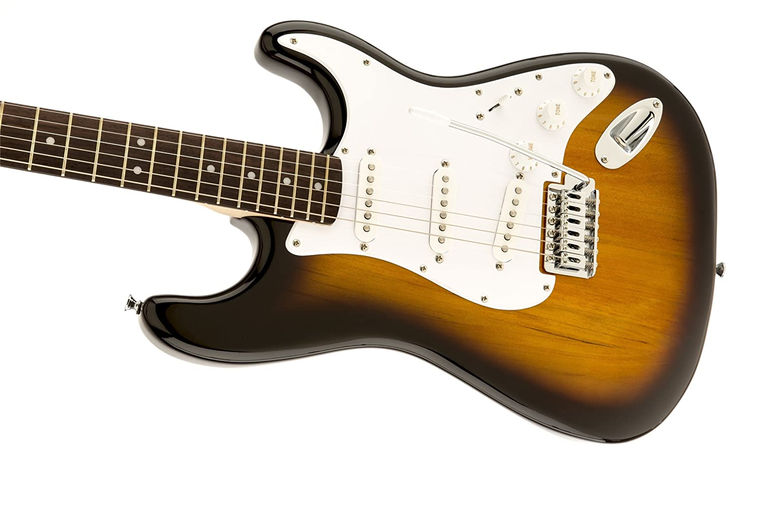 Amazon.com: Squier by Fender Bullet Strat Beginner Electric Guitar - Brown  Sunburst - Rosewood Fingerboard: Musical Instruments