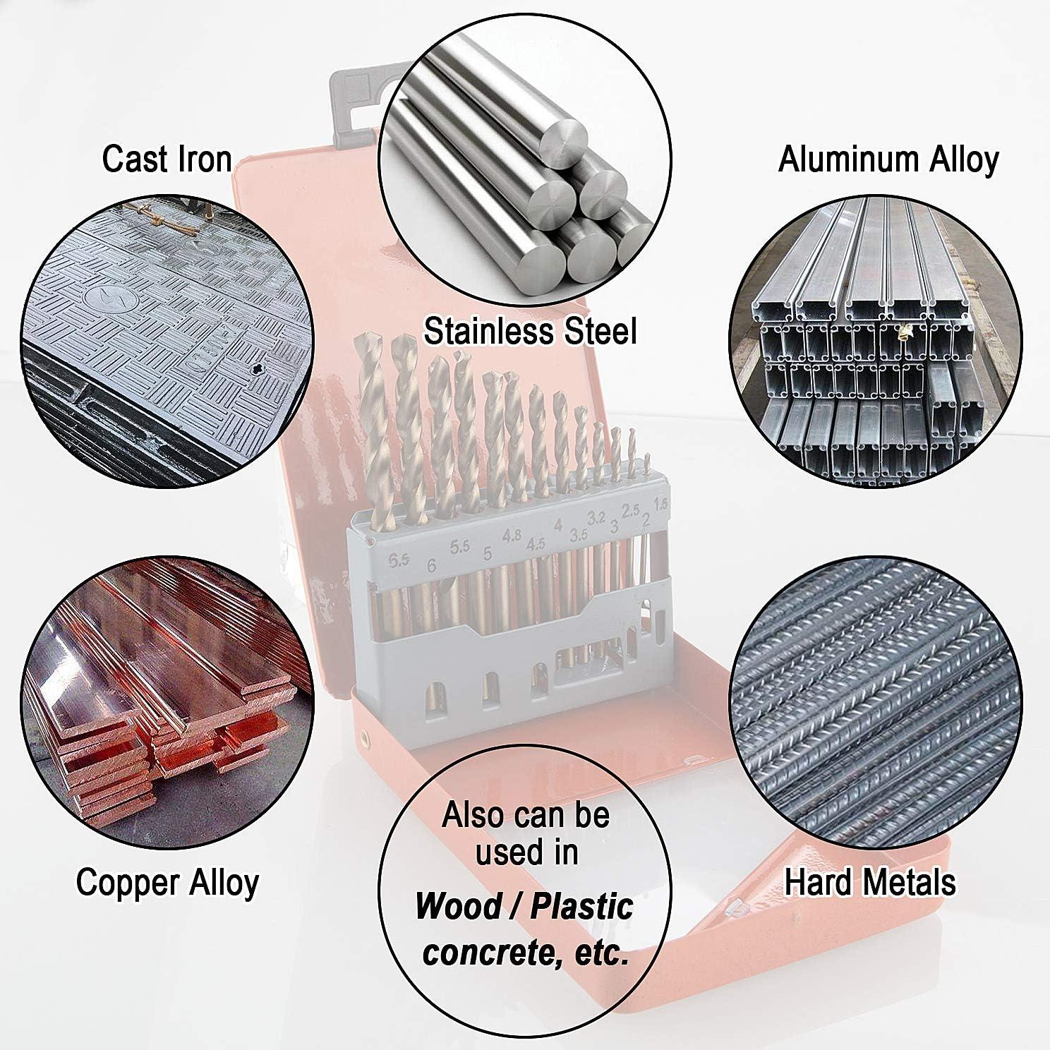13pcs Hard Material Wood 1.5-6.5 mm CenterZ Metric M35 HSS Cobalt Jobber Drill Bits Assorted Multi-Purpose Twist Drill Bit Set for Concrete Metal Index Case Thick Stainless Steel Cast Iron