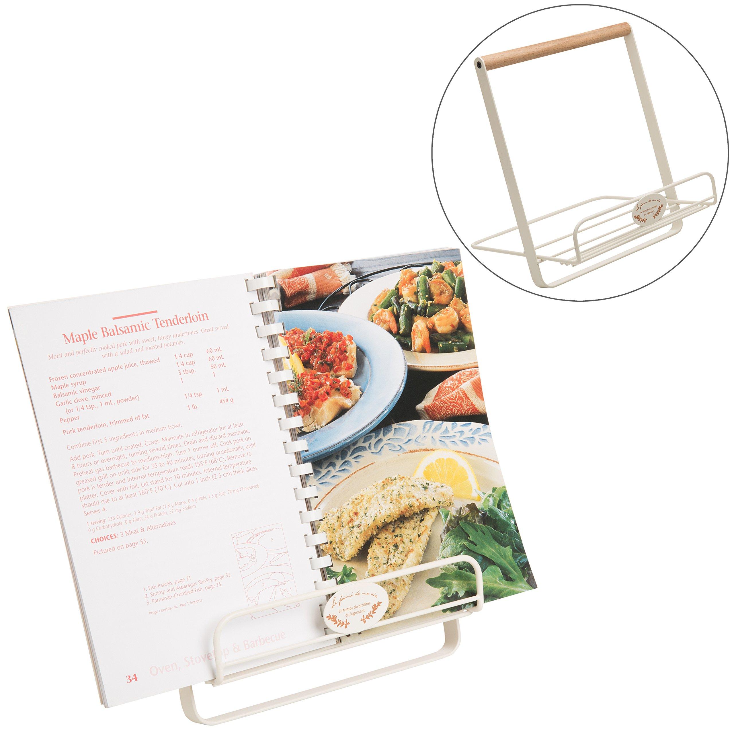 MyGift White Metal Foldable Cookbook or Tablet Holder Stand
