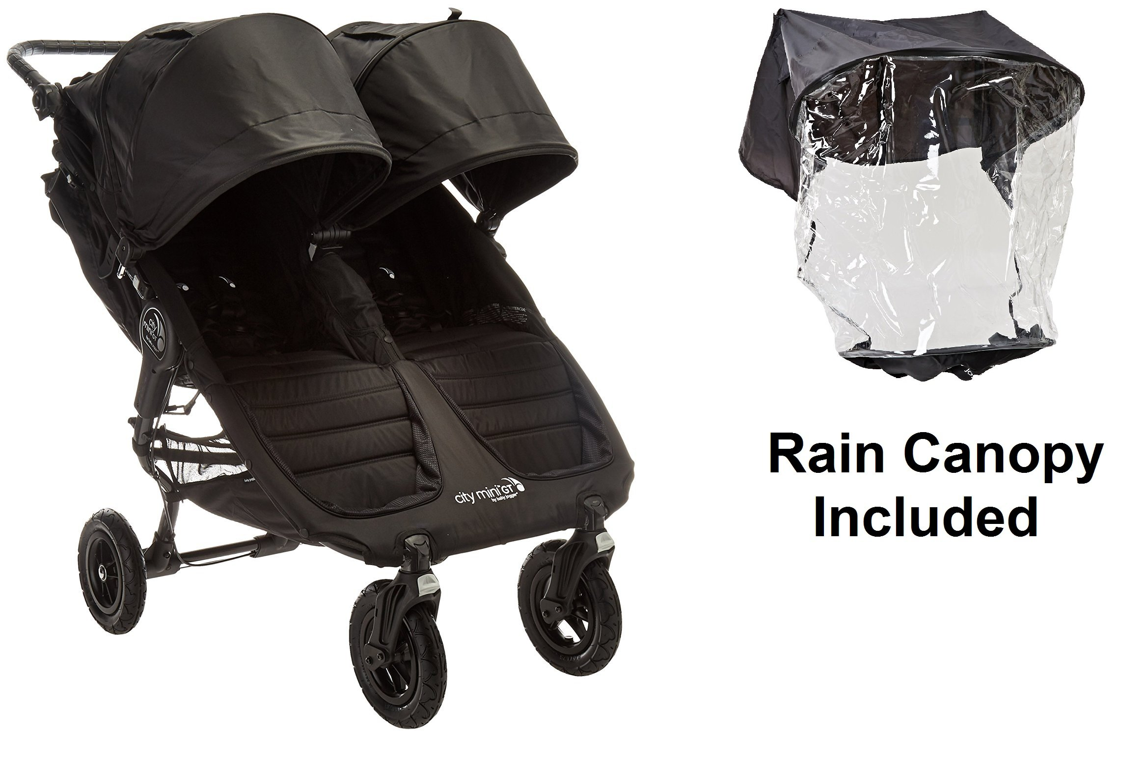 Baby Jogger 2016 City Mini GT Double Stroller, Black/Black with Double Rain Cover