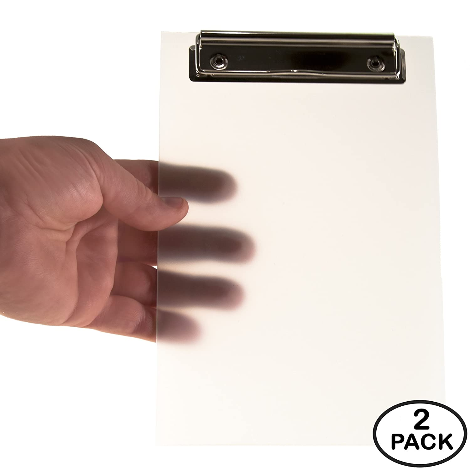 """Mini Clipboard by KrohneTec – Frosted Transparent 6"""" x 9"""" - 2 Pack"""