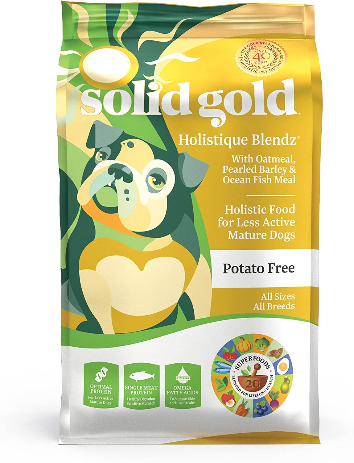 Solid Gold – Holistique Blendz – Natural Senior Dog Food for Sensitive Stomachs – Oatmeal, Pearled Barley and Fish Meal – Potato Free – Dry Dog Food