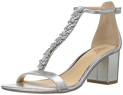 68a1c42dc74 Badgley Mischka Jewel Women s Lindsey Heeled Sandal Silver 5.5 Medium US