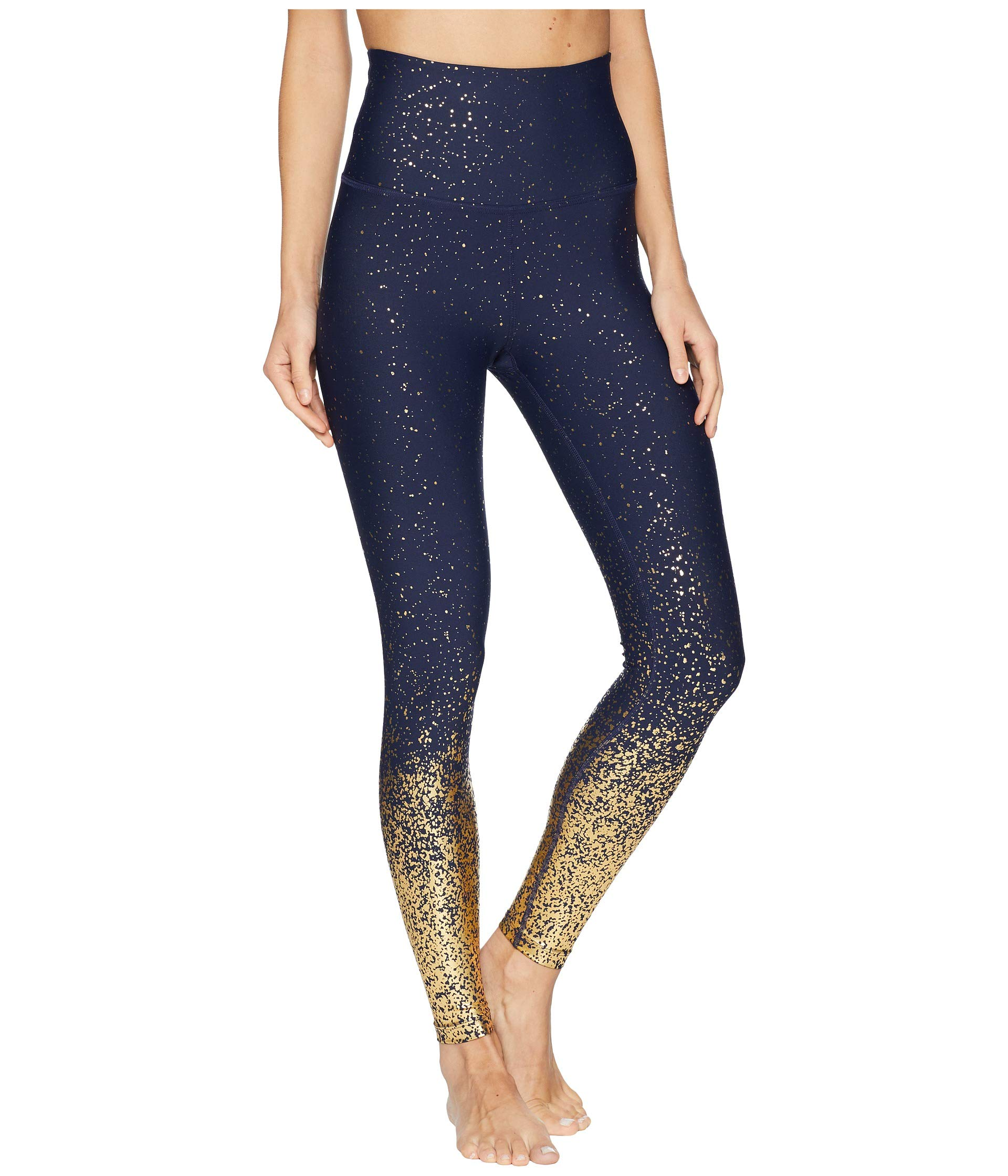 Beyond Yoga Women's Alloy Ombre High-Waisted Midi Leggings Navy/Gold Speckle Small 25.5 25.5