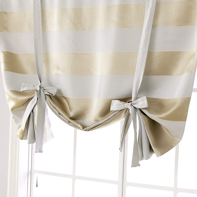 Deconovo Striped Sun Blocking Curtains Rod Pocket Kids Light Blocking Curtains Tie Up Drapes for Kitchen 46W X 45L Baby Pink 1 Panel