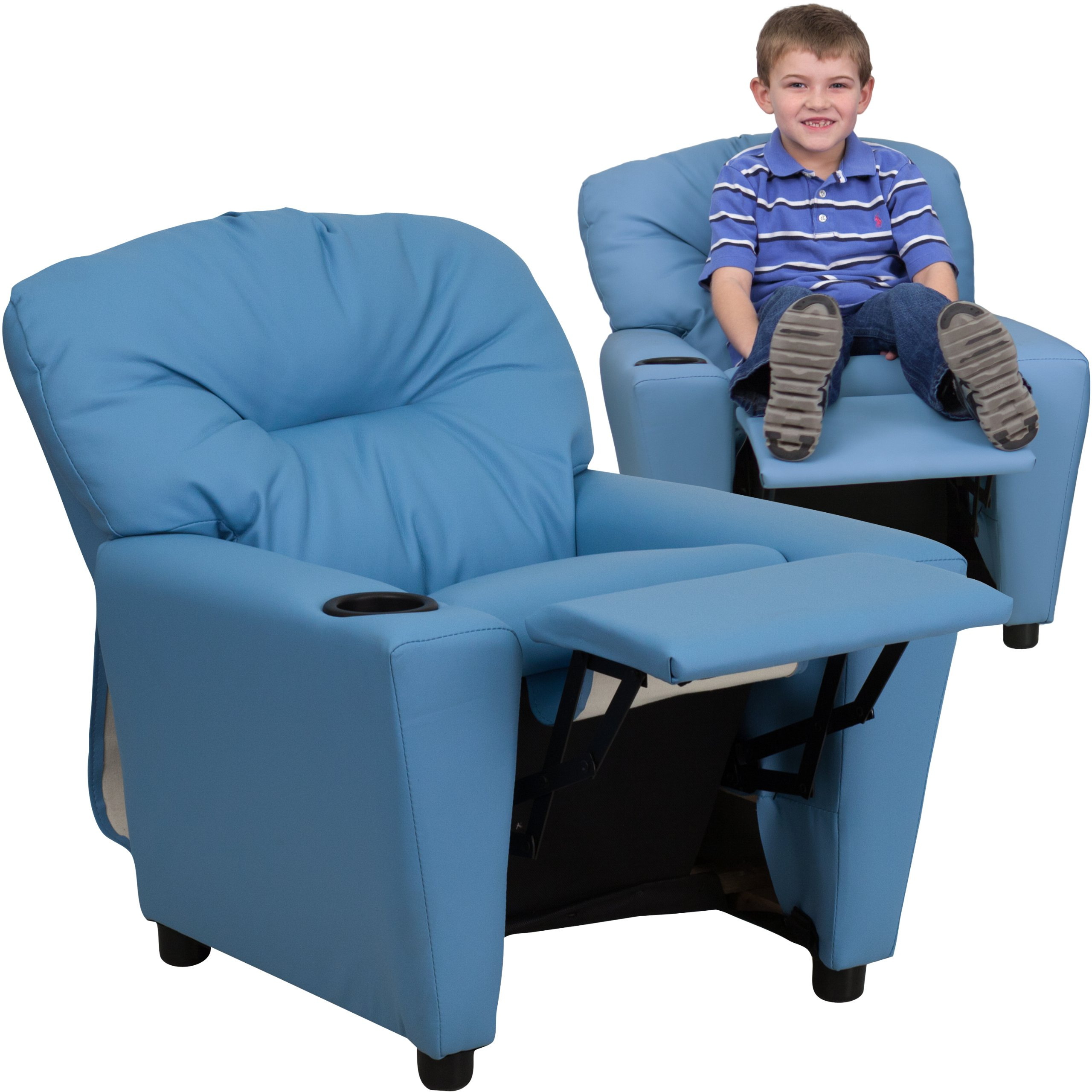 Winston Direct Kids' Series Contemporary Light Blue Vinyl Recliner with Cup Holder