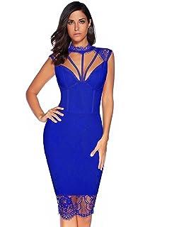 11e1da2049f5 Meilun Womens Rayon Lace Patchwork Sleeveless Bandage Bodycon Club Party  Dress