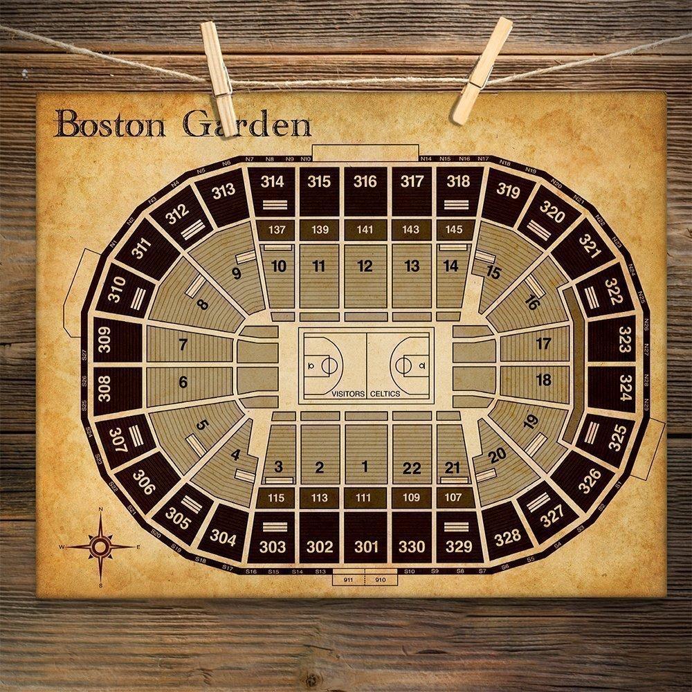 Amazon.com: Boston Garden Basketball Seating Chart Art Print - 11x14 ...