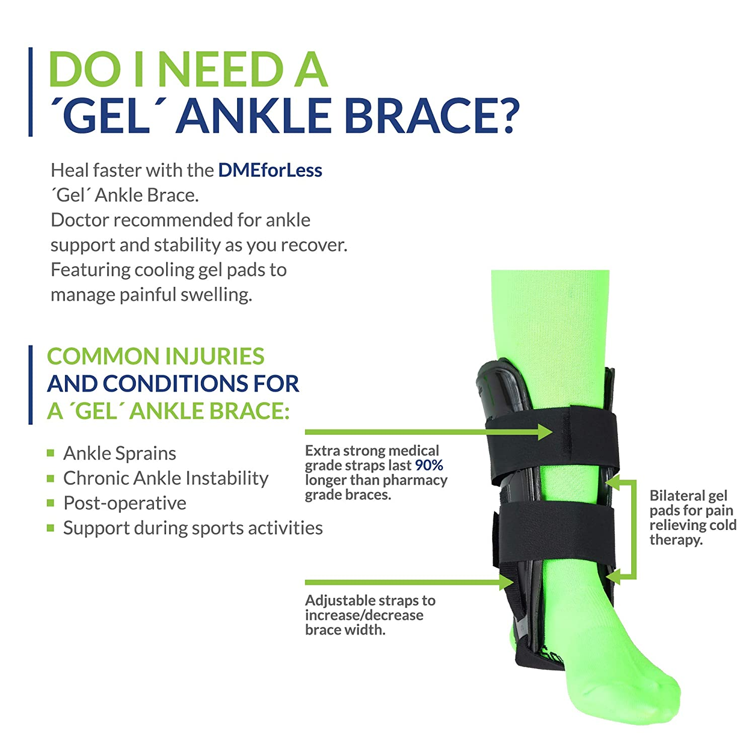 Swelling Better Circulation Sprain Recovery Foot Support Splint for Injury Post-Surgery DMEforLess Air Gel Ankle Stirrup Brace All-Day Compression /& Pain Relief Adjustable Rigid Stabilizer