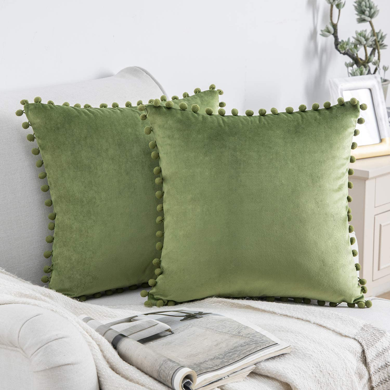 Phantoscope Pack of 2 Pom Poms Velvet Decorative Throw Pillow Covers Soft Solid Square Cushion Case Pillow Decor, Light Green, 18 x 18 inches 45 x 45 cm