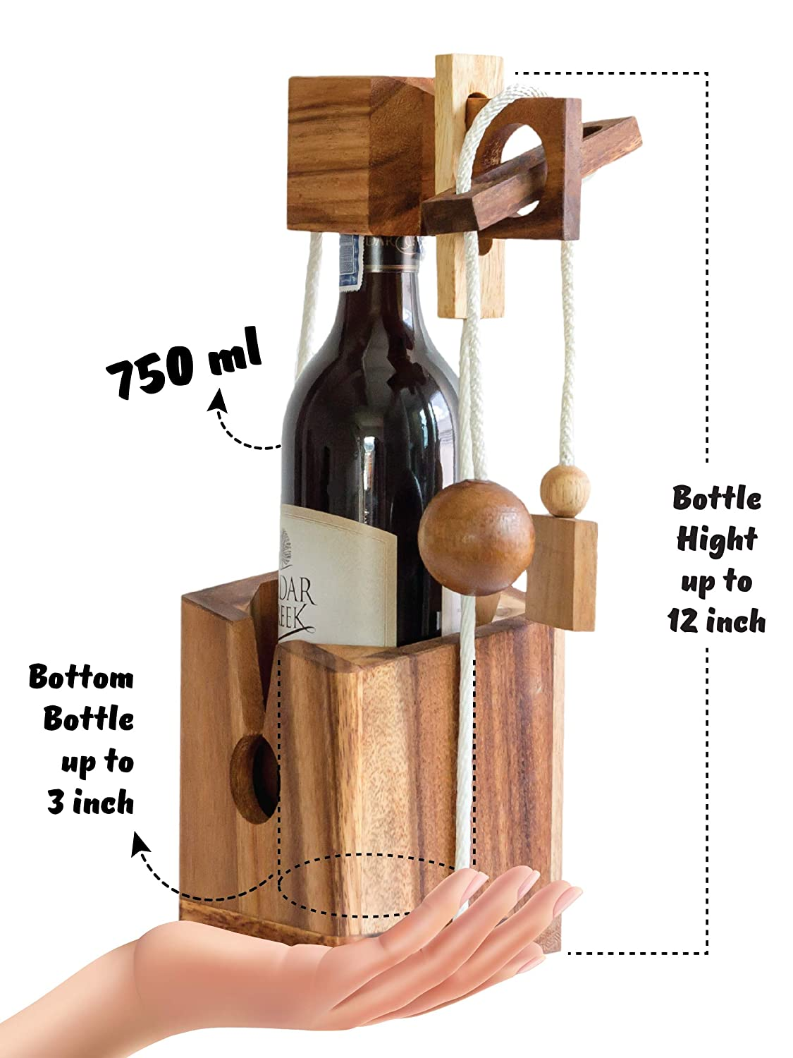 d9c368d1c92 Wine Gift Adult and Game Gifts Comes with Bottle Lock Challenges Wood Brain  Teaser Puzzles and Designs of Classic Unique Wooden to be a Puzzle Game ...