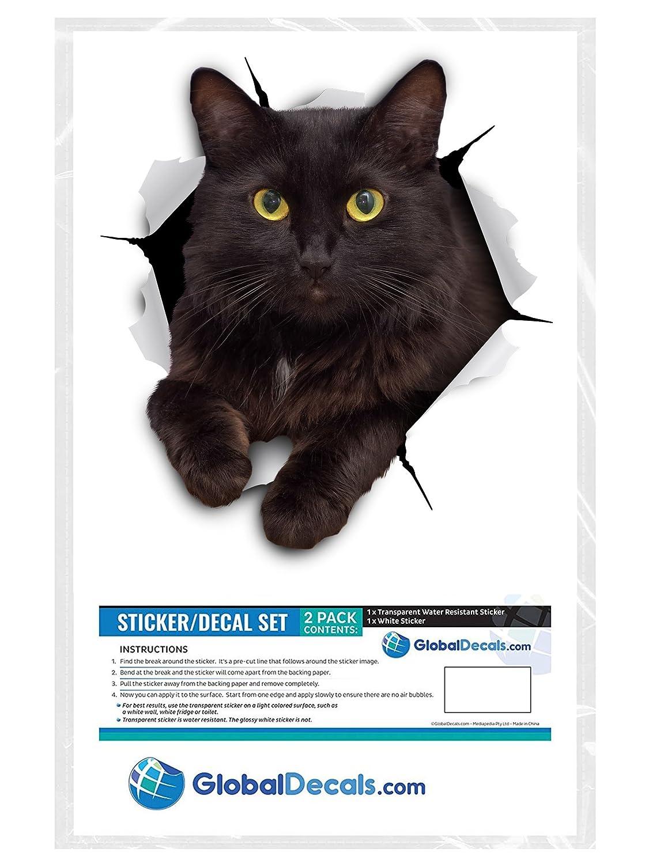 Frigo Paquet de 2 Toilette Voiture Stickers Chat Noir Effronte Pour Mur Salle Autocollants D/écoratifs Drole Winston /& Bear Autocollants Chat Muraux 3D