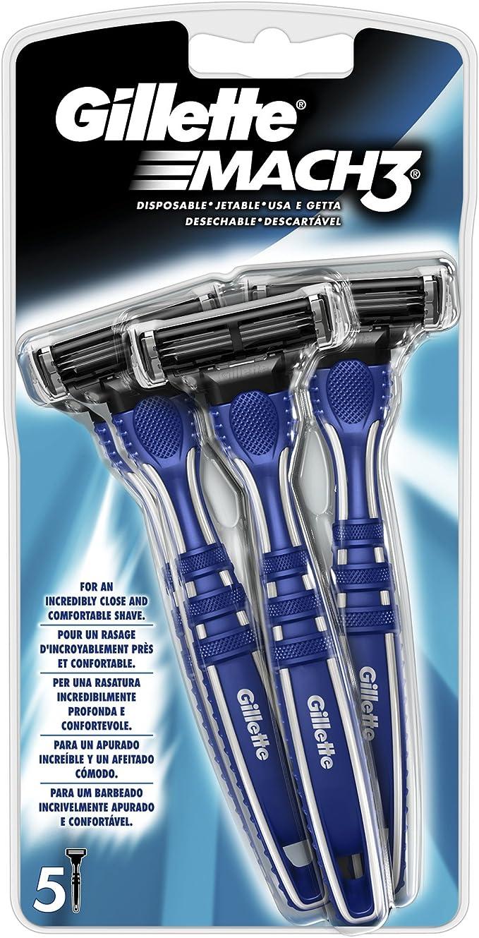 Gillette Mach 3 - Afeitadora maquinilla manual desechable, 5 ...