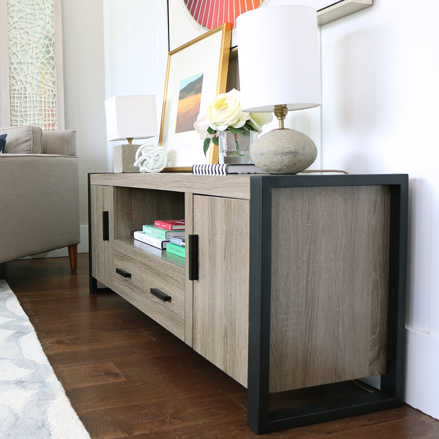 industrial wood furniture. amazon.com: we furniture 60\ industrial wood