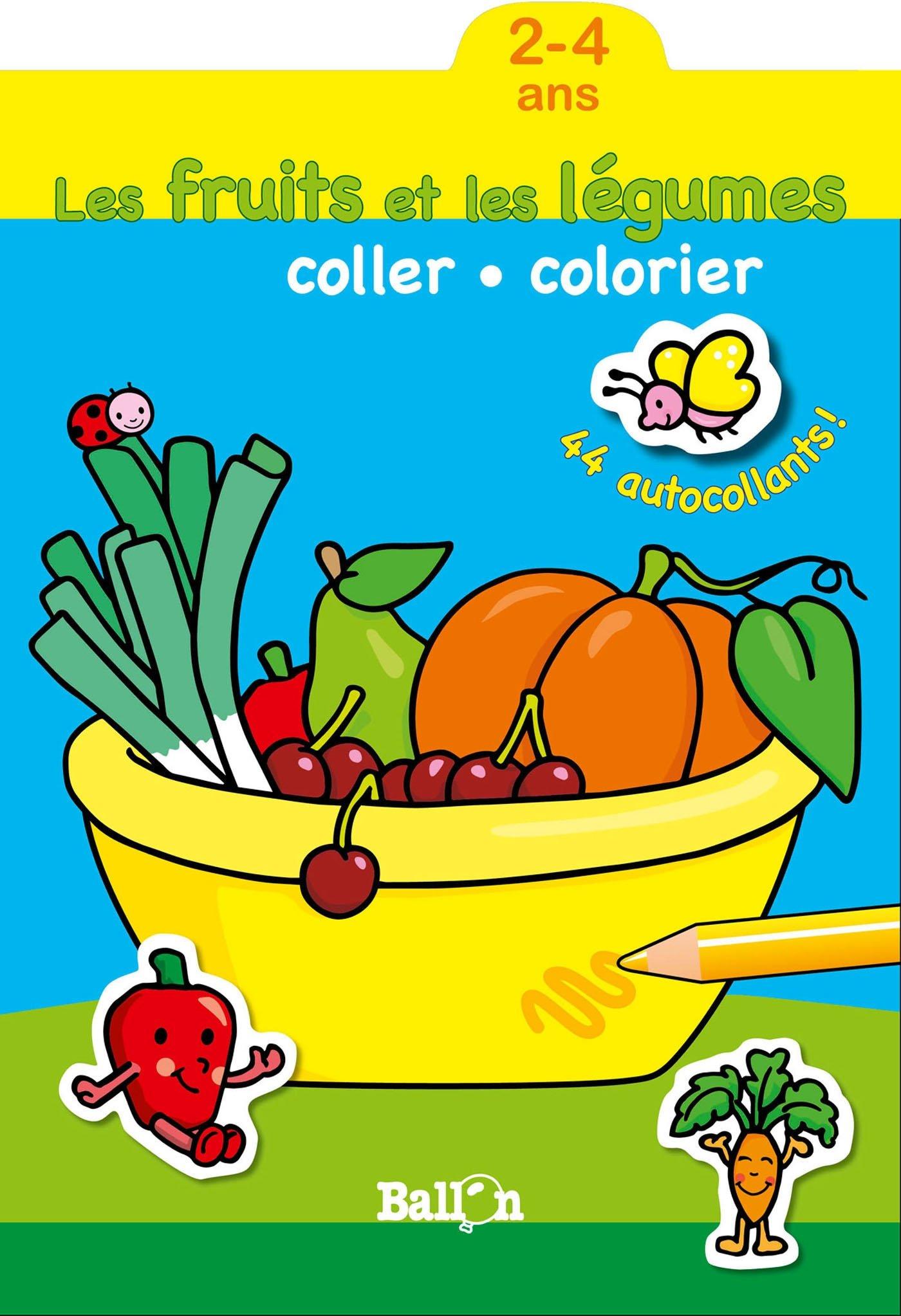 Coloriage Gommette Fruits Et Legumes.Coller Et Colorier Les Fruits Et Legumes 2 4 Ans Amazon Fr