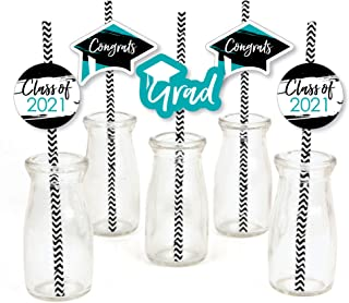 product image for Big Dot of Happiness Teal Grad - Best is Yet to Come - Paper Straw Decor - Turquoise 2021 Graduation Party Striped Decorative Straws - Set of 24