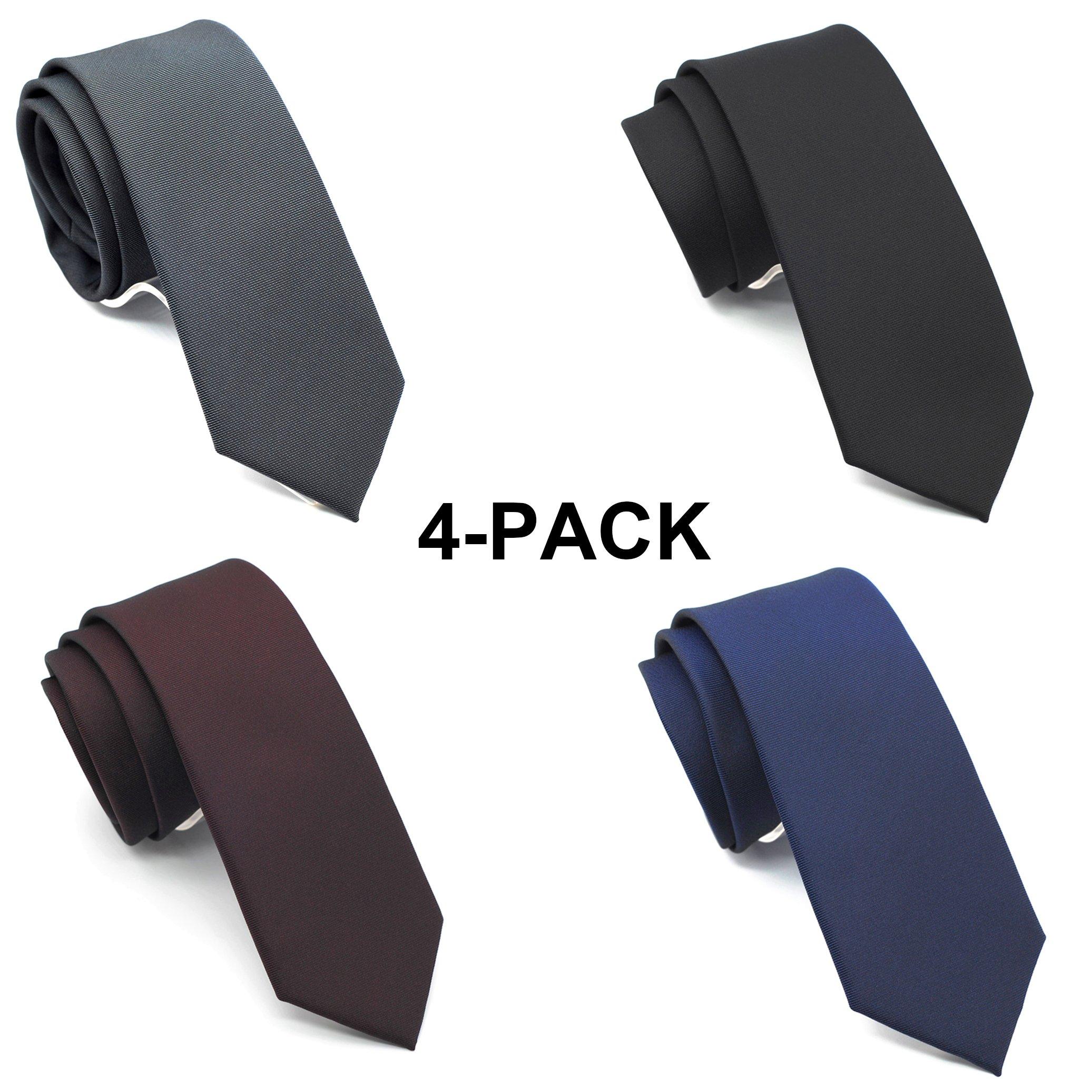 Skinny Neckties Solid Matte Color Slim Neck Tie 2(1/2)'' 4-Colors TC040E,Narrow,(4 Pack)