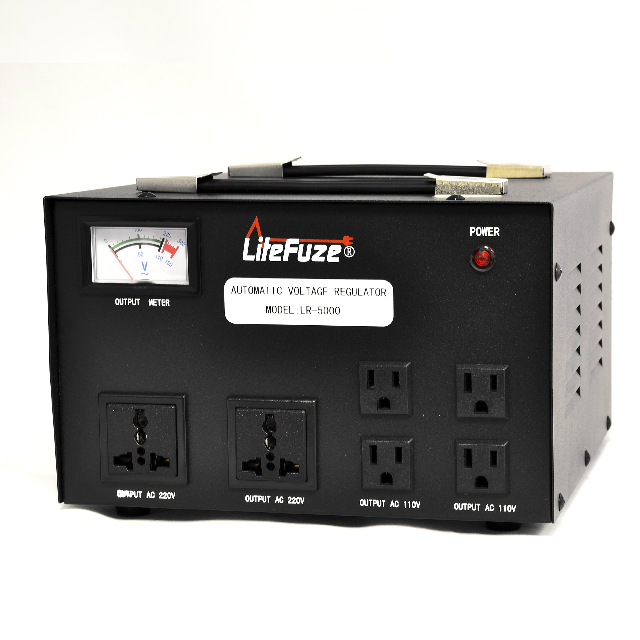 LiteFuze 5000 Watt Voltage Converter Transformer Heavy Duty Regulator Meter - Step Up/Down - 110/120/220/240 Volt - Fully Grounded Cord - Universal Output Sockets