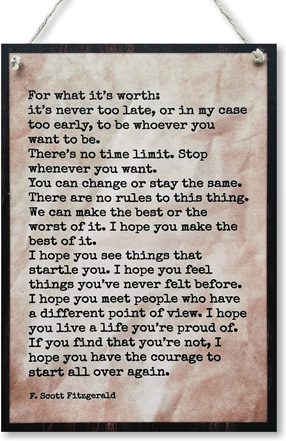 CARISPIBET for What It's Worth | Home Decorative Plaque with Scott Fitzgerald Citation Decoration Sign 12