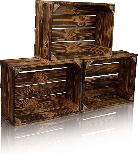 Chiccie - Caja de madera en estilo vintage, diferentes tamaños, con barniz oscuro, caja de fruta decorativa: Amazon.es: Juguetes y juegos