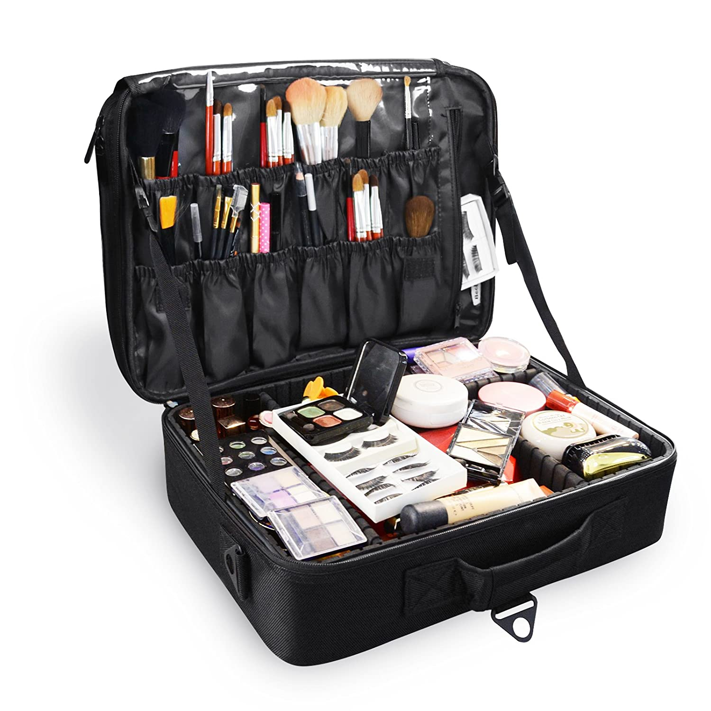 Becko Black Portable Travel Cosmetic Makeup Bag/Toiletry bag
