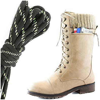 Women's Combat Style Lace up Ankle Bootie Round Toe Military Knit Credit Card Knife Money Wallet Pocket Boots Black Lime