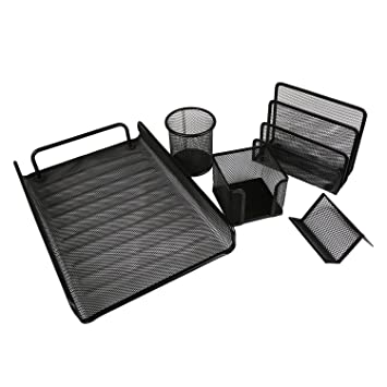 GOOD ACTIVE 5 Piece Office Supplies Desk Organizer Tool Mesh Tray Metal File Pencil Holder