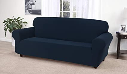 Madison Stretch Jersey Sofa Slipcover, Solid, Navy