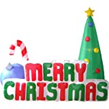 6 Foot Tall Christmas Inflatable Merry Christmas Tree with Candy Cane & Ornaments LED Lights Decor Outdoor Indoor…
