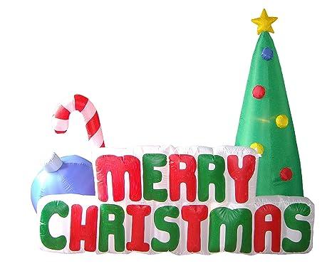 Amazon.com: 6 foot Tall Lighted Feliz árbol de Navidad ...