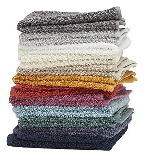 Living Fashions Toallas,paquete de 12,100% Anillo extra suave algodón hilado de algodón,