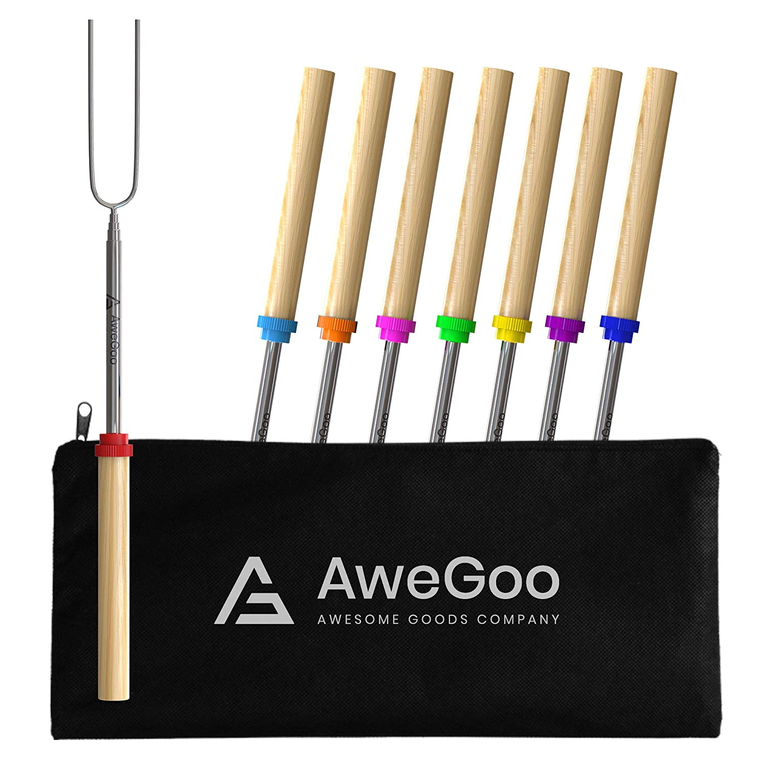 AweGoo Smores Sticks for Fire Pit Marshmallow Roasting Sticks Campfire Smores Skewers Extendable Camping Sticks Set of 8 812BWfDTUfL