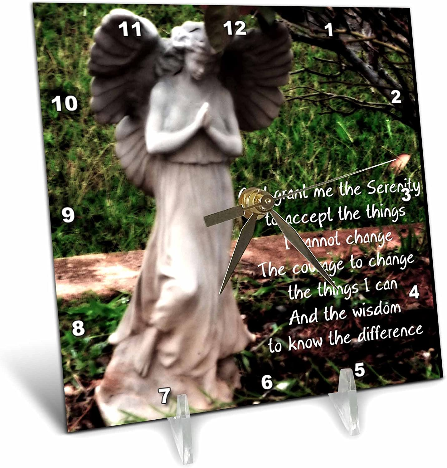 6 by 6-Inch 3dRose dc/_63370/_1 An Angel and The Serenity Prayer Together Desk Clock