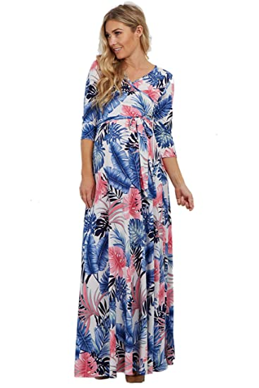 63646ac32c74c PinkBlush Maternity Light Pink Palm Print Wrap Maternity/Nursing Maxi  Dress, Sm at Amazon Women's Clothing store: