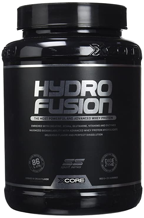 XCore Hydro Fusion - Proteína de Suero de Leche en Polvo 900g Sabor Galletas y Crema