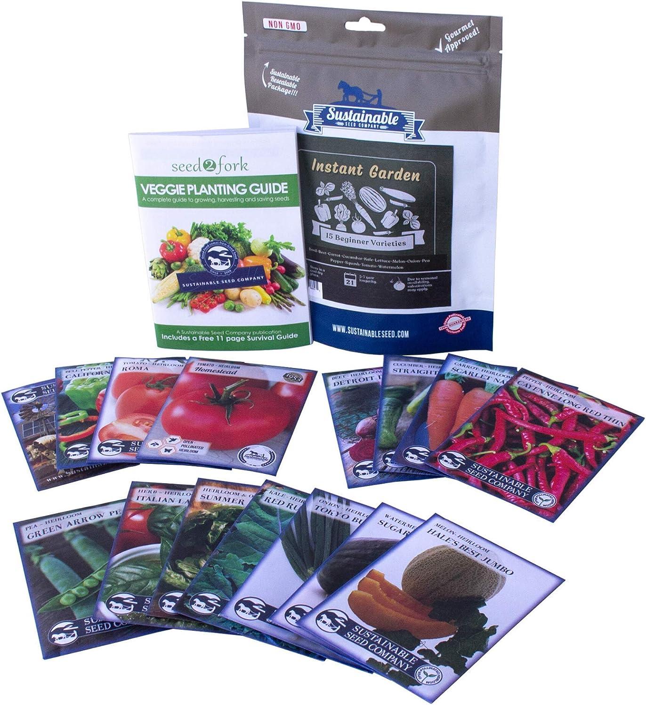 Instant Garden, Heirloom Vegetable Seed Collection, 15 Variety Non GMO Heirloom Garden Vegetable Herb Seeds - Tomato, Pepper, Lettuce, Carrot, Kale, Basil, & More