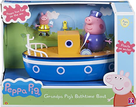 Nouveau Peppa Pig Grandad Dog Pirate Boat Navire Playset