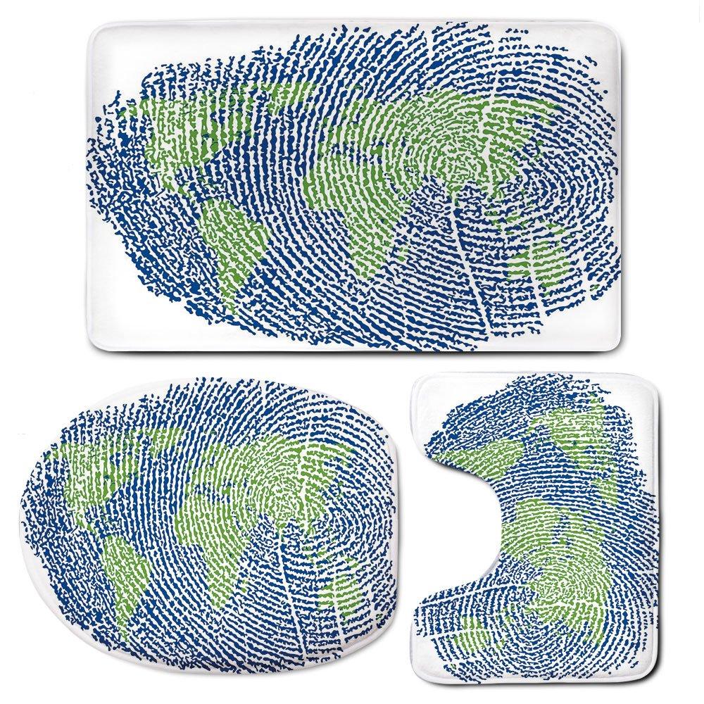 3 Piece Bath Mat Rug Set,World-Map,Bathroom Non-Slip Floor Mat,Map-of-the-World-Fingerprint-Style-Continents-Asia-Europe-Africa-America,Pedestal Rug + Lid Toilet Cover + Bath Mat,Navy-Blue-Green