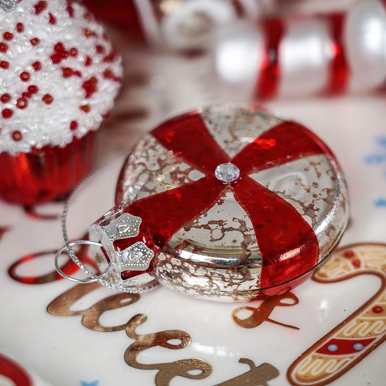 Valery Madelyn Palle di Natale Vetro Addobbi Natalizi Set 16 Pezzi 6-8cm Traditional Red And White Palline di Natale Decoration for Addobbi Natalizi per Albero